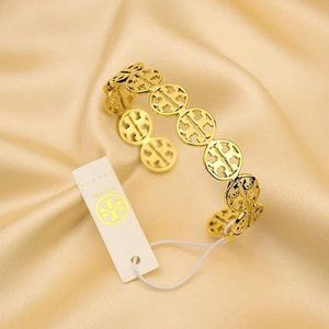 Tory Burch Logo Cuff Gold Bracelet